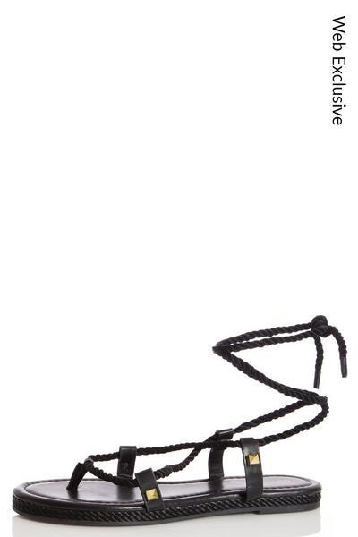 Black Tie Up Flat Sandals